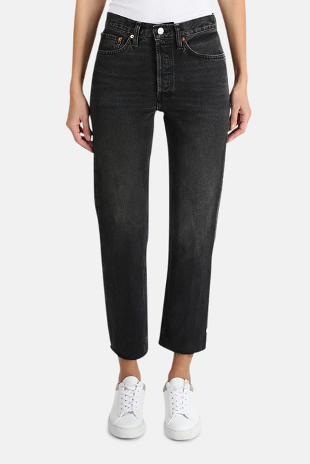 RE/DONE High Rise Stove Pipe Jeans - Aged Black