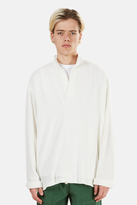 Blue&Cream Pop Collar Pullover Sweater - White