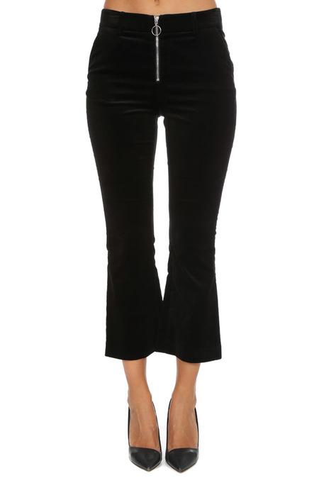 FRAME Denim Velvet O-Ring Zip Flare Pants - Noir