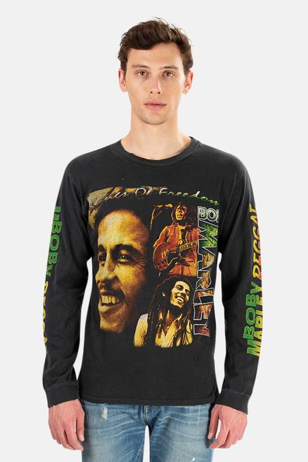 MadeWorn Rock Henleys Bob Marley Reggae LS Top - Coal Pigment