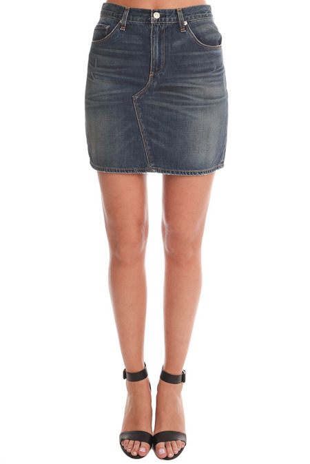 Rag & Bone JEAN Distressed Mini Skirt - Blue