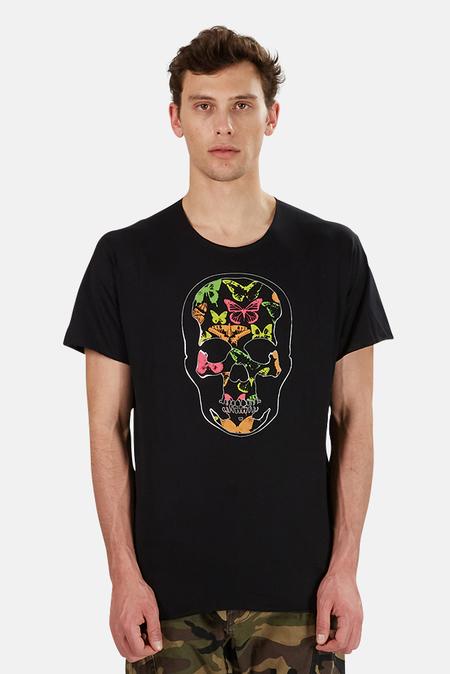 Lucien Pellat-Finet Skull Neon Butterfly Print Graphic T-Shirt - Black