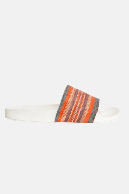 Zimmermann Woven Raffia Pool Slide Shoes - Tomato Beach Stripe