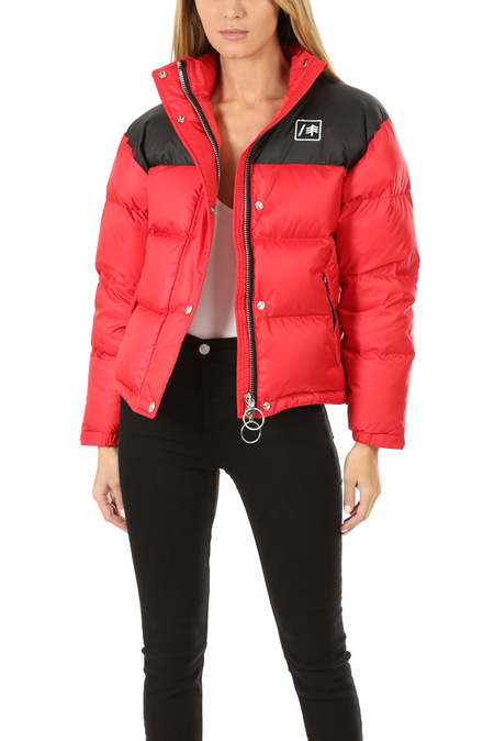 RE/DONE Cropped Puffer Jacket - Red/Black