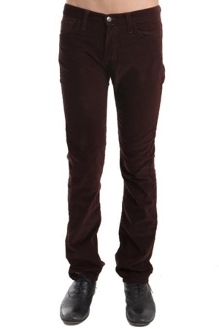 Simon Spurr Pipe Leg Corduroy Pants - Burgundy
