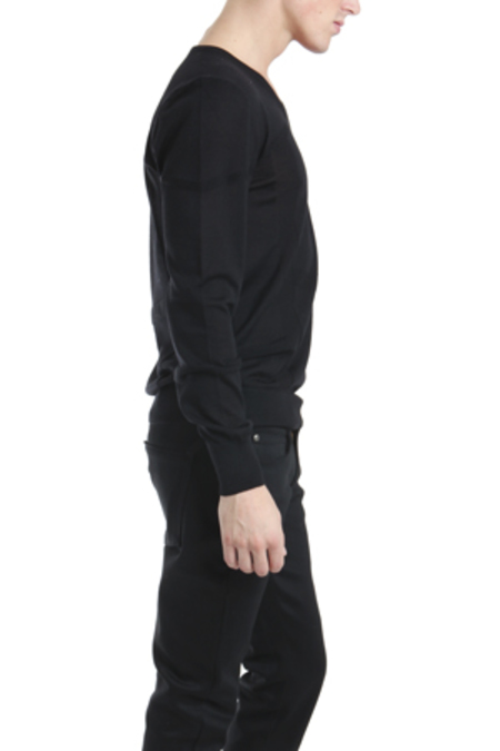 Simon Spurr Tonal Stripe V Neck Sweater - Black