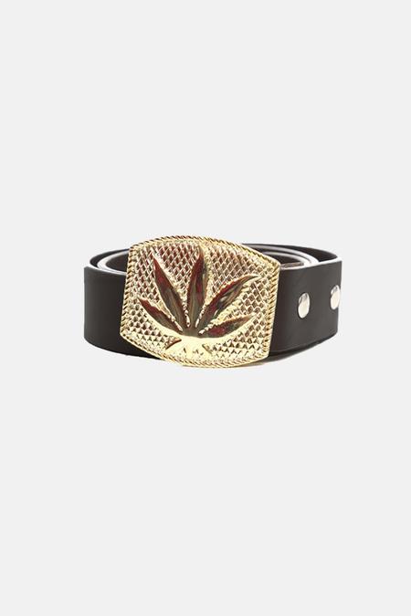 Lucien Pellat-Finet Gold Leaf Buckle Belt - Black