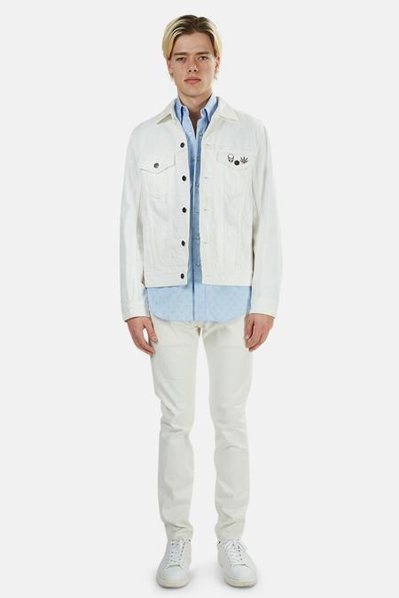 Lucien Pellat-Finet Skull Jeans Jacket - White Skull/Leaf Pattern