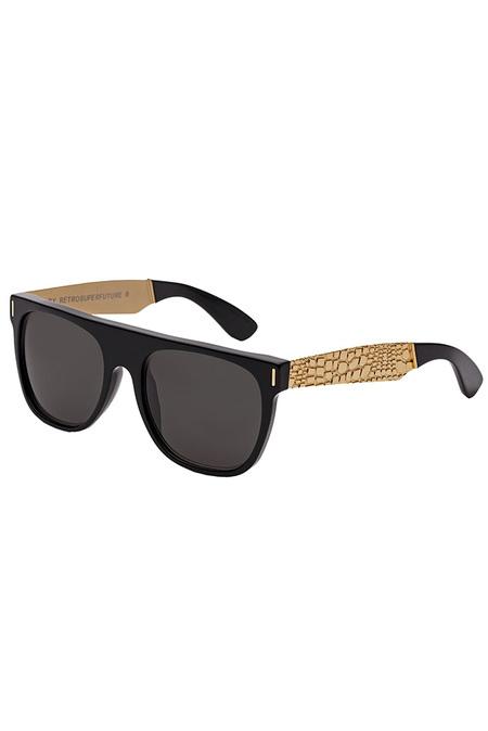 RETROSUPERFUTURE Flat Top Francis Goffrato Sunglasses - Black/Gold