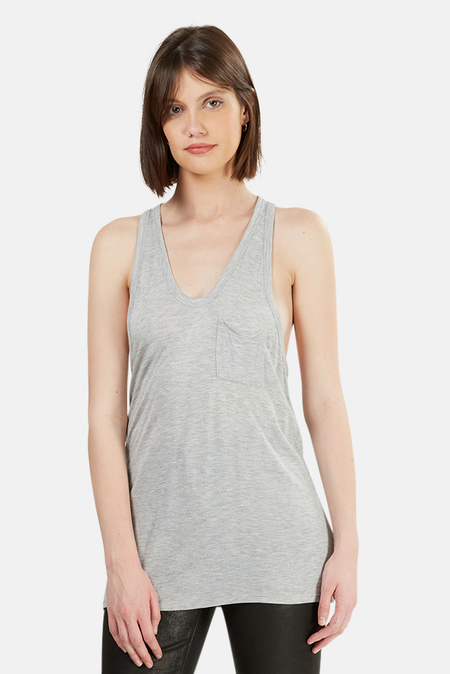 T by Alexander Wang Classic Pocket Tank - Heather Grey