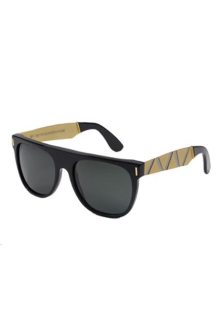 RETROSUPERFUTURE Flat Top Francis Saldatura Sunglasses - Black/Gold