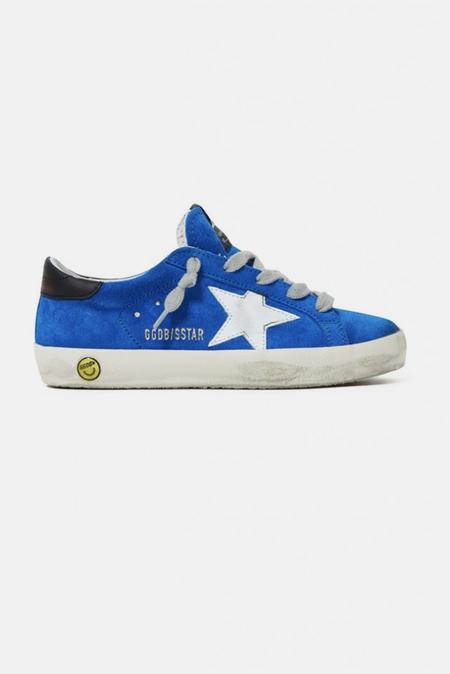 Kids Golden Goose Superstar Sneaker Shoes - Blue Sea/White Star