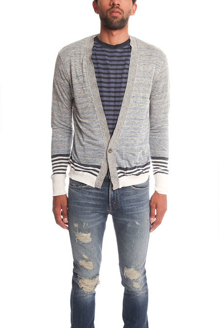 Remi Relief Boarder Cardigan Sweater - Heather Gray/Blue