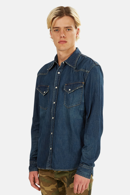Remi Relief Denim Western Shirt - Blue