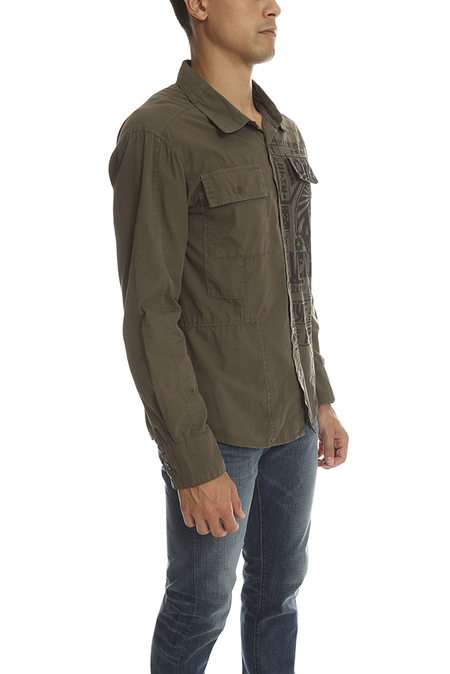Salvage Palm Button Down Top - green
