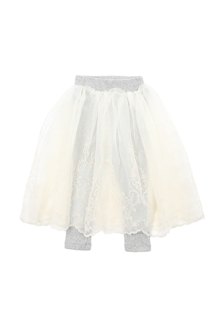 kids Hailey Ava Lace Skirt With Legging - White/Grey