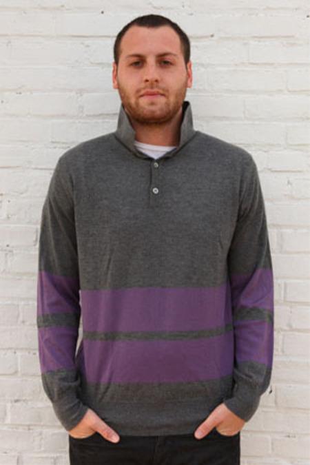 Simon Spurr Cashmere Stripe LS Polo Top - Purple Stripe