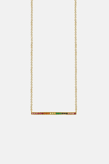 Sydney Evan Long Micropave Bar Necklace - 14k yellow-gold