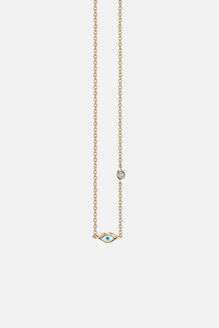 Sydney Evan Mini Enamel Evil Eye Necklace With Bezel-Set Diamond - Yellow Gold
