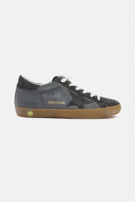 Kids Golden Goose Superstar Sneaker Shoes - Grey Suede/Leather Star