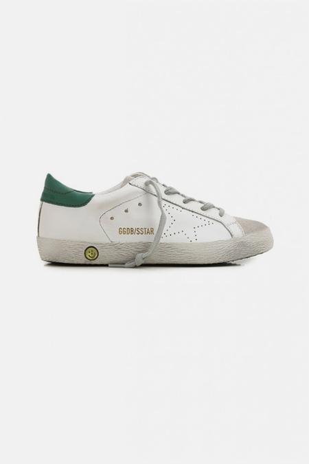Kids Golden Goose Superstar Sneaker Shoes - White/Green