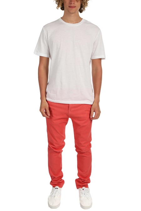 Kato French Terry Slim Chino Pants - light red