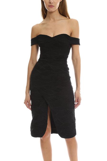 Nicholas Lace Shoulder Dress - Black