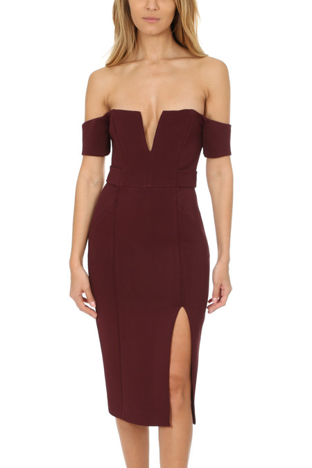 Nicholas Bandage Deep V Pencil Dress - Burgundy