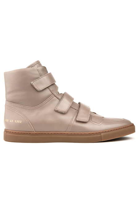 Robert Geller x Common Projects Velcro High Top Shoes - Beige/gum Brown
