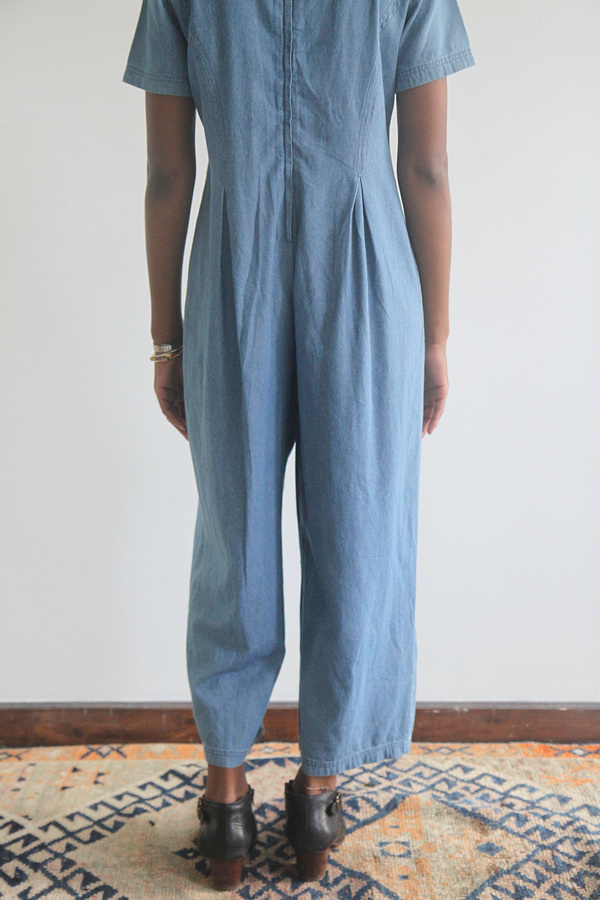 The Shudio Vintage Light Denim Pleated Jumpsuit