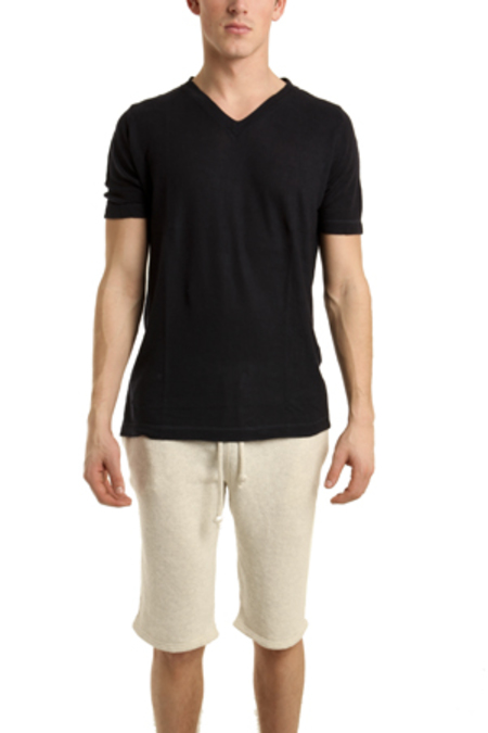 V :: ROOM Tencel Cashmere V Neck T-Shirt - dark Navy