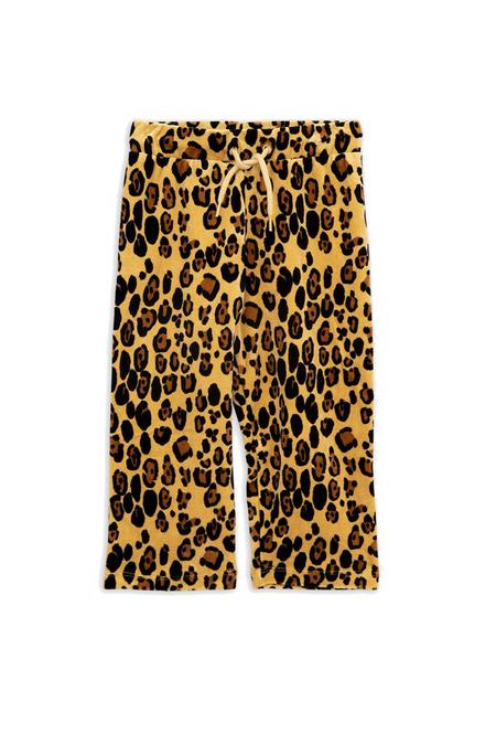 Kids Mini Rodini Velour Leopard Sweatpants - Beige