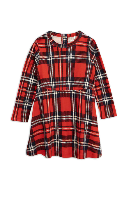 Kids Mini Rodini Plaid Long Sleeve Dress - Red