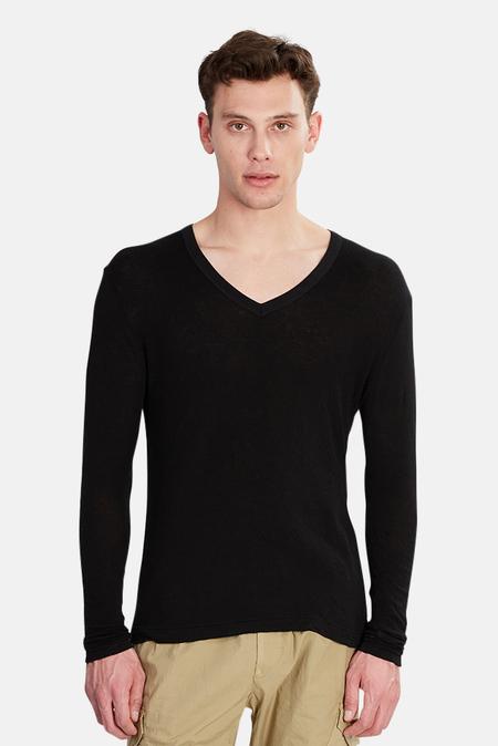 V::ROOM Long Sleeve Double Gauze V Neck Top - Black