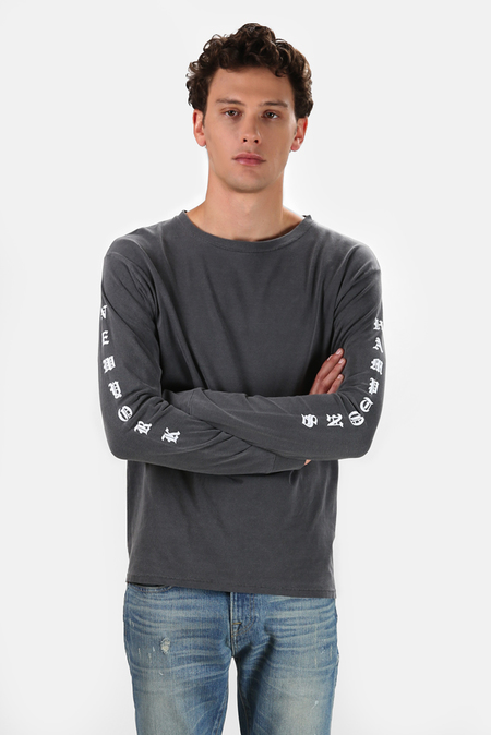 Henleys Blue&Cream Been Here Forever Long Sleeve T-Shirt - Charcoal