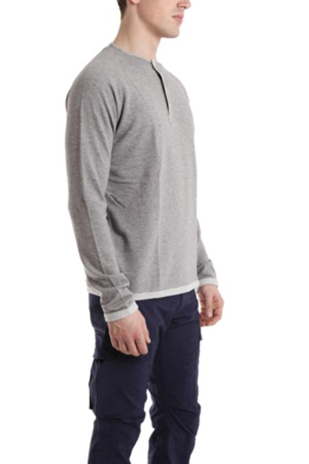 V::ROOM Raglan Henley Long Sleeve Top - heather grey