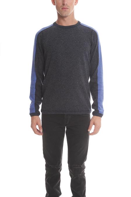 Blue&Cream Cashmere Honeycomb Panel Crew Sweater - Night Sky/River