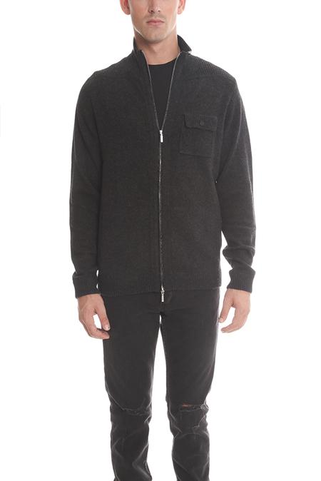 Blue&Cream Cashmere Mock Neck Zip Jacket - Charcoal