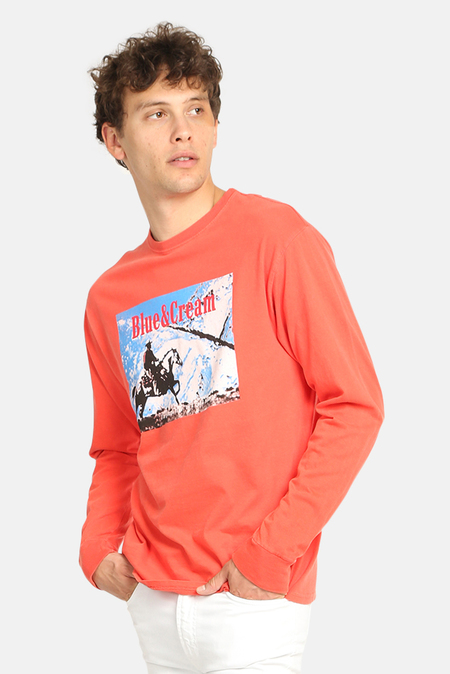 Blue&Cream Ride Long Sleeve Graphic T-Shirt - Red