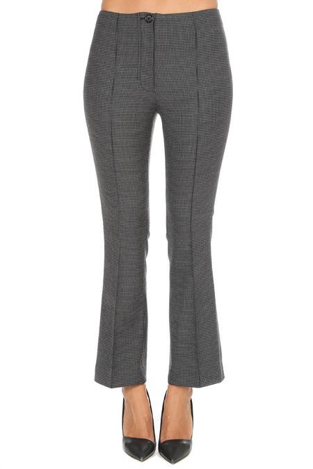 Helmut Lang Houndstooth Cropped Flare Pants - Melange Grey