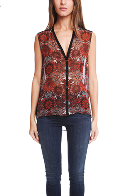 Helmut Lang Sleeveless Top - Red Multi