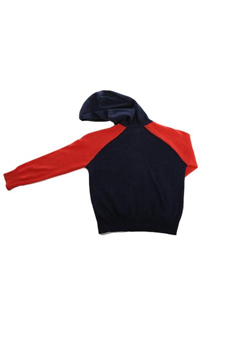 Kids unisex Blue&Cream Cashmere Zip Hoody Sweater - Navy/Coral
