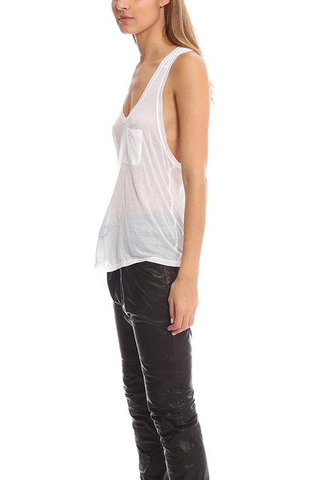 T by Alexander Wang Classic Pocket Tank - White