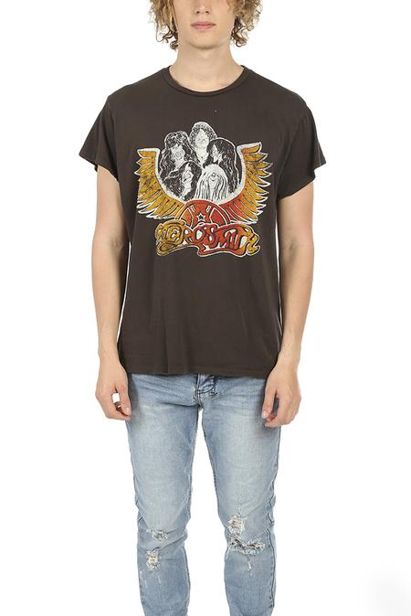 MadeWorn Rock Aerosmith Group with Wings T-Shirt - Dirty Black