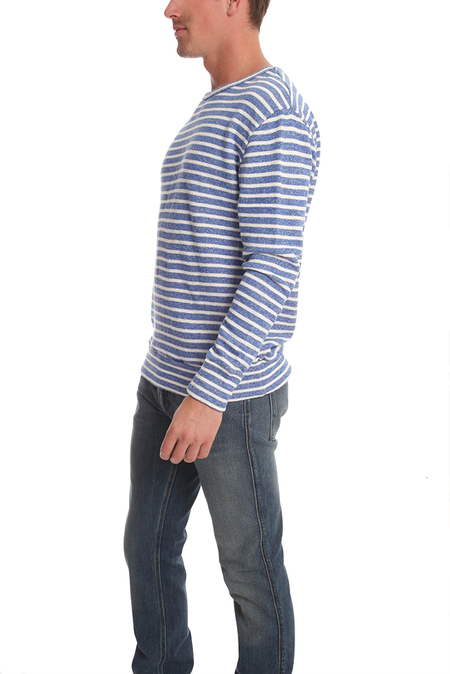 V::Room Gauze Fleece Boarder Sweater - Blue/White