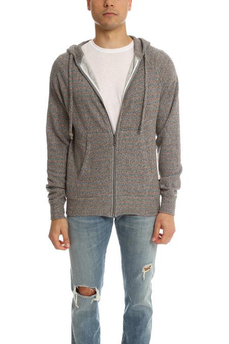 V::Room LS Zip Hoodie Sweater - Charcoal/Brown