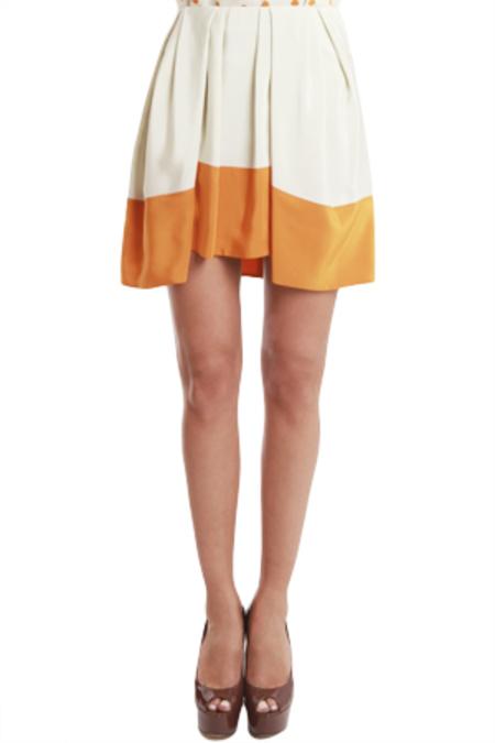 3.1 Phillip Lim Pleated Umbrella Skirt - Bone/Persimmon