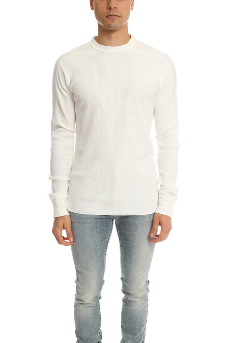 V::Room LS Waffle Crewneck Sweater - White