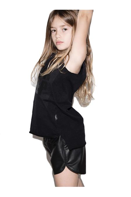 Kids Nununu Leather Gym Shorts - Black