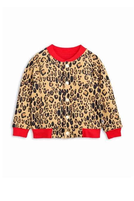 Kids Mini Rodini Leopard Reversible Sweat Jacket - Beige/patterned